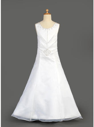 A-Line/Princess Scoop Neck Floor-length With Beading/Sequins Organza/Satin Flower Girl Dress