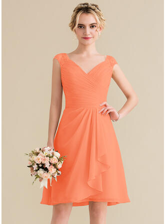 A-Line V-neck Knee-Length Chiffon Lace Bridesmaid Dress With Cascading Ruffles