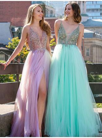 Fashion Tulle Evening Dresses A-Line/Princess Floor-Length V-neck Sleeveless