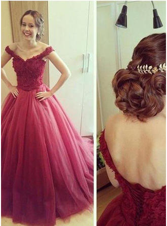 Ball-Gown Off-the-Shoulder Floor-Length Tulle Prom Dress With Appliques Lace