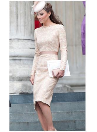 Sheath/Column Scoop Neck Knee-Length Evening Dresses With Sash