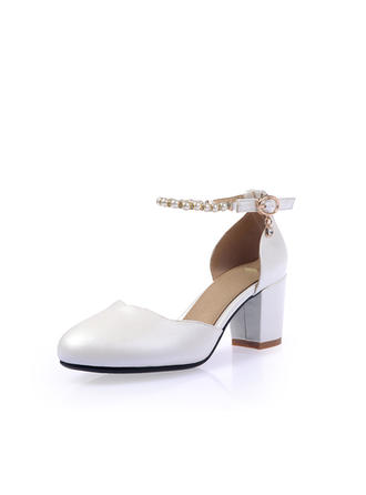 Women's Closed Toe Pumps Chunky Heel Leatherette With Buckle Imitation Pearl Wedding Shoes