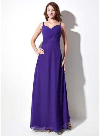 Chiffon Sleeveless Empire Bridesmaid Dresses V-neck Ruffle Floor-Length