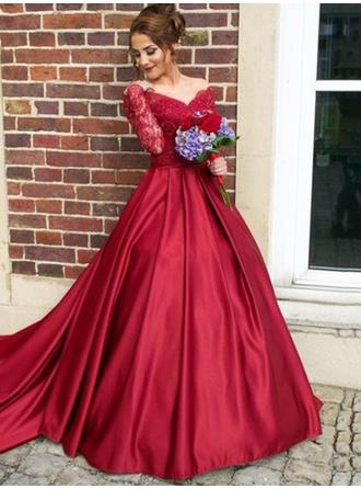 Satin Long Sleeves Ball-Gown Evening Dresses Sweep Train