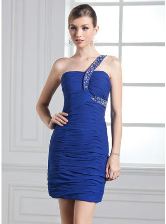 Sheath/Column One-Shoulder Short/Mini Chiffon Prom Dress With Ruffle Beading