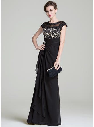Trumpet/Mermaid Chiffon Sleeveless Scoop Neck Floor-Length Zipper Up Mother of the Bride Dresses