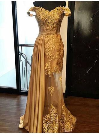 Sheath/Column Charmeuse Prom Dresses Sexy Floor-Length Off-the-Shoulder Sleeveless