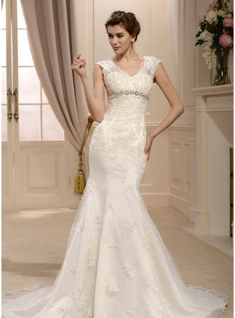 Trumpet/Mermaid V-neck Sweep Train Wedding Dress With Beading Appliques Lace Sequins