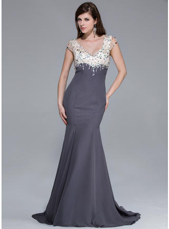 Chiffon Charmeuse Short Sleeves Trumpet/Mermaid Prom Dresses V-neck Beading Split Front Sweep Train