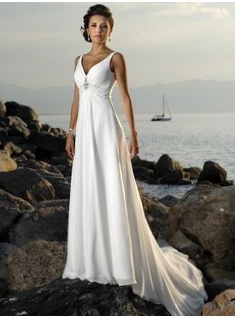 Empire V-neck Court Train Wedding Dresses With Beading
