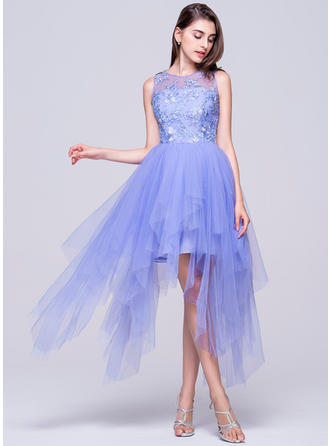 A-Line/Princess Asymmetrical Homecoming Dresses Scoop Neck Tulle Sleeveless