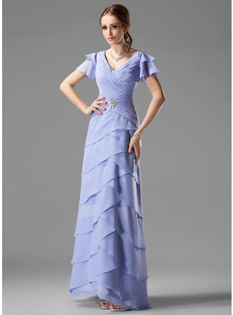 Beading Cascading Ruffles V-neck Luxurious Chiffon Mother of the Bride Dresses