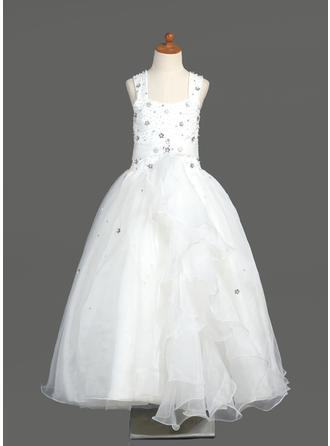 A-Line/Princess Scoop Neck Floor-length With Beading Organza Flower Girl Dress