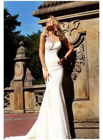 Trumpet/Mermaid One-Shoulder Sweep Train Evening Dress With Beading