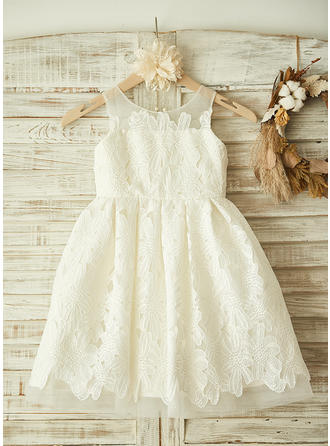 Scoop Neck A-Line/Princess Flower Girl Dresses Lace Appliques Sleeveless Knee-length