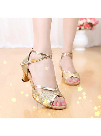 Mulheres Latino Sandálias Couro Espumante Glitter com Correia de Calcanhar Sapatos de dança