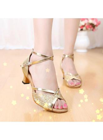 De mujer Danza latina Sandalias Cuero Brillo Chispeante con Tira de tobillo Zapatos de danza