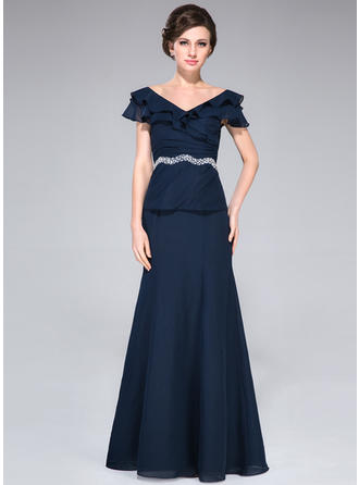 Chiffon Short Sleeves Mother of the Bride Dresses Off-the-Shoulder A-Line/Princess Beading Cascading Ruffles Floor-Length