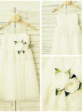 Glamorous Ankle-length A-Line/Princess Flower Girl Dresses Scoop Neck Tulle/Lace Sleeveless