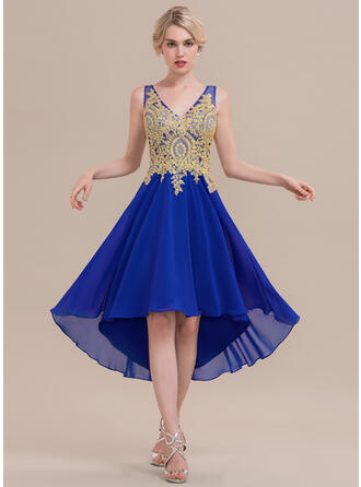A-Line/Princess V-neck Asymmetrical Chiffon Cocktail Dress With Beading