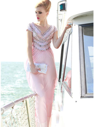 A-Line/Princess V-neck Floor-Length Evening Dress With Beading Flower(s)