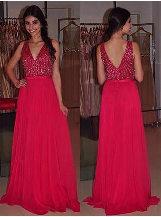 A-Line/Princess V-neck Sweep Train Chiffon Evening Dresses With Sash Beading