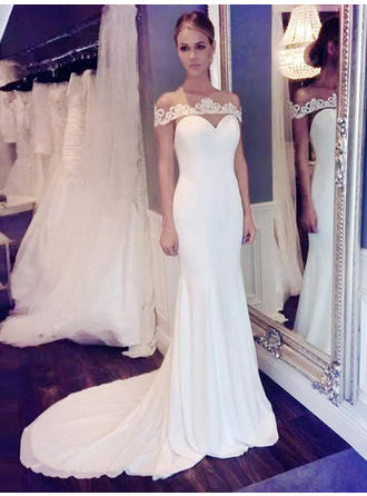 Chic Court Train Trumpet/Mermaid Wedding Dresses Scoop Chiffon Sleeveless