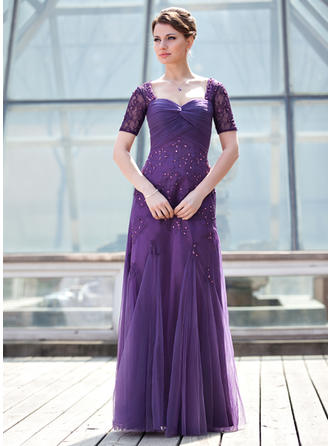 Tulle Short Sleeves Mother of the Bride Dresses Sweetheart A-Line/Princess Ruffle Beading Sequins Floor-Length