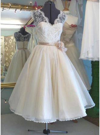 A-Line/Princess V-neck Tea-Length Wedding Dress With Lace Sash Flower(s)