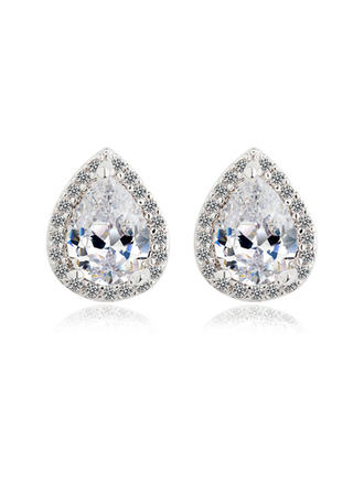 Earrings Zircon/Platinum Plated Pierced Ladies' Shining Wedding & Party Jewelry