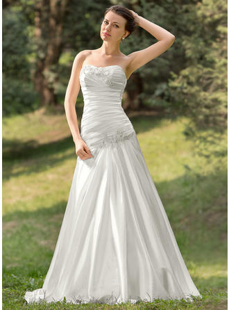 Sleeveless A-Line/Princess Ruffle Beading Appliques Sequins With Charmeuse Wedding Dresses