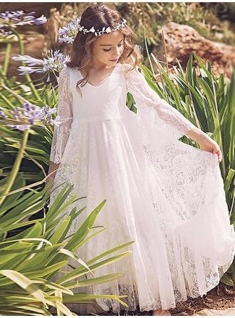 A-Line/Princess V-neck Floor-length With Pleated Lace Flower Girl Dress (010145261)