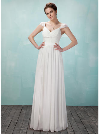 Chiffon V-neck A-Line/Princess Sleeveless Elegant Evening Dresses