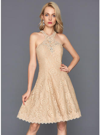 A-Line/Princess Scoop Neck Lace Sleeveless Knee-Length Beading Sequins Homecoming Dresses
