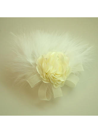 "Forehead Jewelry/Hats Wedding/Special Occasion/Party Net Yarn/Feather/Silk Flower 5.91""(Approx.15cm) 3.15""(Approx.8cm) Headpieces"