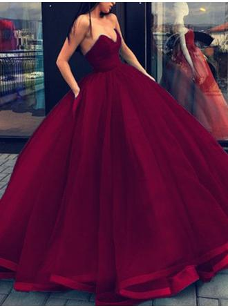 Sweetheart Floor-Length Ball-Gown Organza Evening Dresses