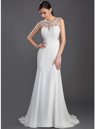 Trumpet/Mermaid Chiffon Prom Dresses Beading Split Front Scoop Neck Sleeveless Sweep Train