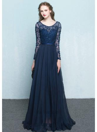 A-Line/Princess Scoop Neck Floor-Length Evening Dress With Beading Flower(s)