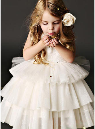 A-Line/Princess Scoop Neck Knee-length Tulle/Lace Sleeveless Flower Girl Dress
