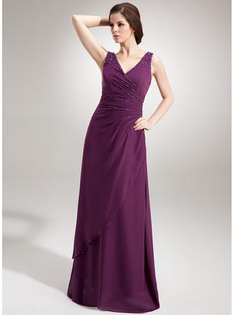 Chiffon V-neck A-Line/Princess Sleeveless Luxurious Evening Dresses