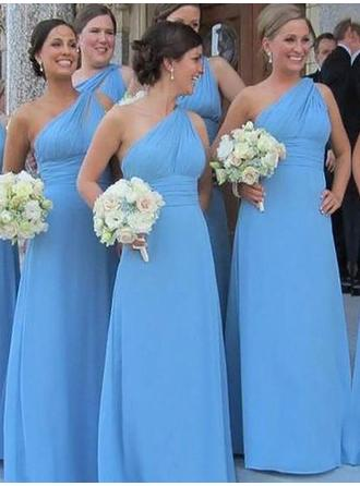 Chiffon Sleeveless Sheath/Column Bridesmaid Dresses One-Shoulder Ruffle Floor-Length
