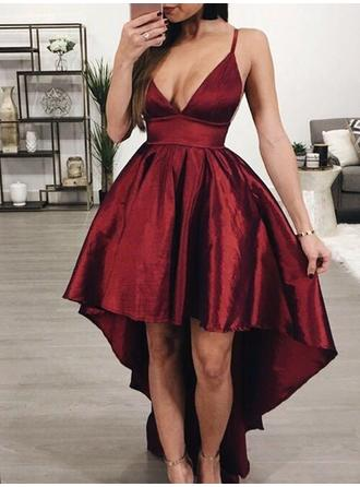 A-Line/Princess Asymmetrical Satin V-neck Homecoming Dresses