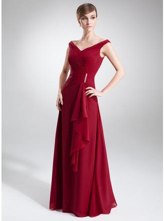A-Linie/Princess-Linie Off-the-Schulter Chiffon Ärmellos Bodenlang Perlstickerei Gestufte Rüschen Kleider für die Brautmutter (008005640)
