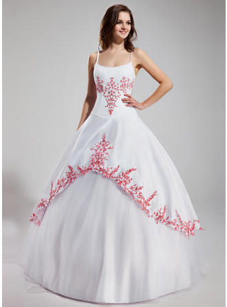 Ball-Gown Scoop Neck Floor-Length Tulle Prom Dress With Ruffle Beading