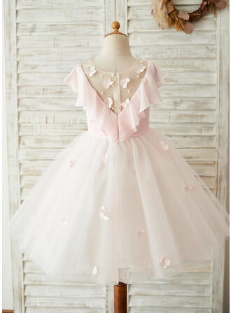 A-Line/Princess Knee-length Flower Girl Dress - Chiffon/Tulle/Lace Sleeveless Scoop Neck With Appliques