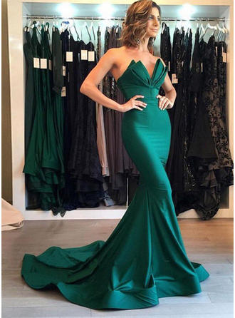 Trumpet/Mermaid Satin Prom Dresses Fashion Court Train Sweetheart Sleeveless
