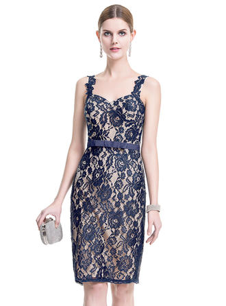 Sheath/Column Sweetheart Lace Sleeveless Knee-Length Bow(s) Cocktail Dresses