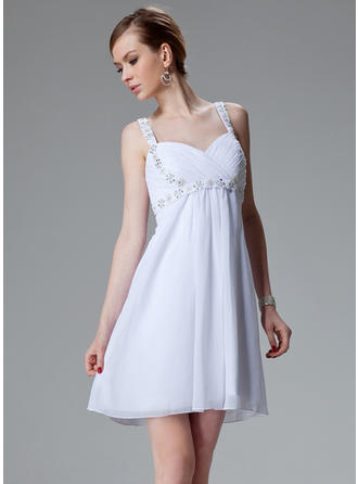 Empire Sweetheart Short/Mini Chiffon Homecoming Dresses With Ruffle Beading Sequins