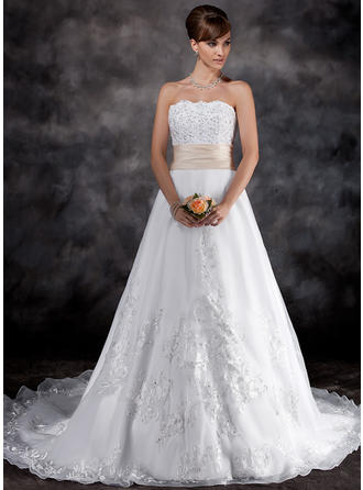 A-Line/Princess Strapless Chapel Train Organza Wedding Dress With Lace Sash Beading