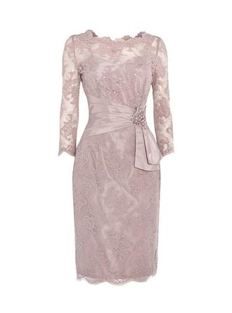 Lace 3/4 Sleeves Mother of the Bride Dresses Scoop Neck Sheath/Column Ruffle Beading Sequins Knee-Length